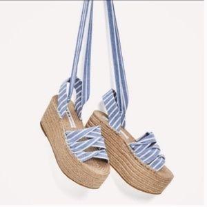 Zara Tied Jute Platform Wedges  - Size 37